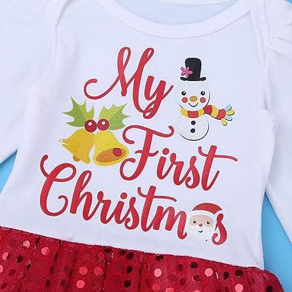 ce13bf04ccdea Alvivi Bébés Filles Mon 1er Noël Costume Robe de fête Tutu Outfit Ensemble  4PCS Déguisement Noël Vêtement de Baptême Body Nouvelle Année 0-12 Ans  ...