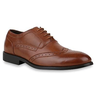 Herren Schuhe Business Budapester Klassische Schnürer Profil Sohle 153301  Braun 40 Flandell fea6411657