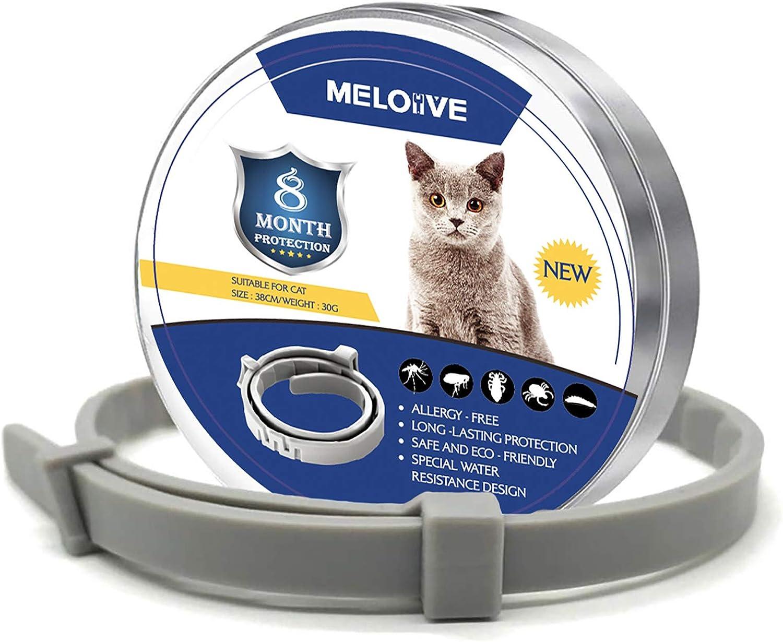 Meloive Collar Anti Pulgas y Garrapatas para Gatos, Control Seguro y Efectivo de Pulgas y Garrapatas-38cm,Resistente al Agua, Ajustable y Natural 8 Meses de Prevención
