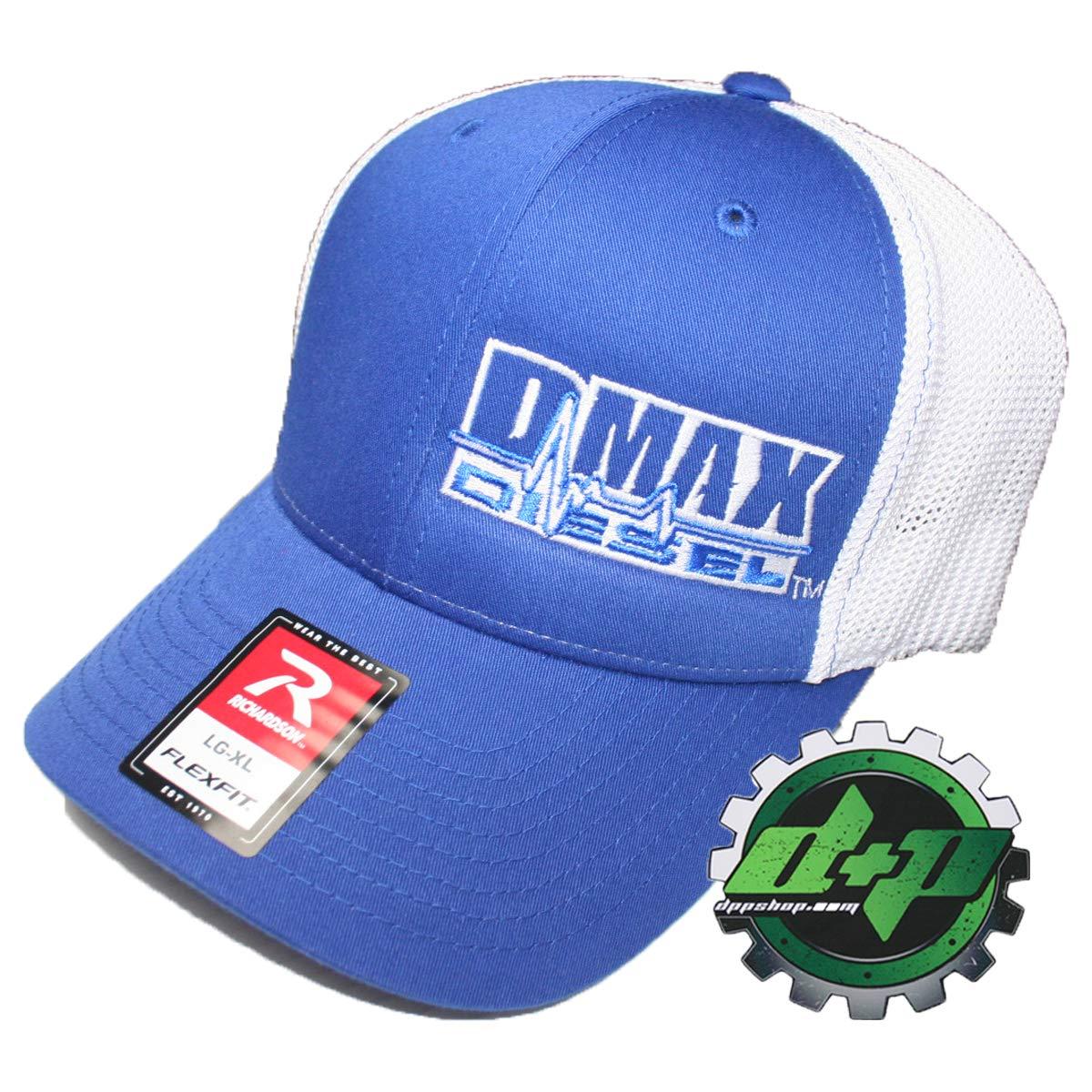 Duramax Diesel Richardson 110 DMAX Truck hat Blue Flexfit White mesh Back L//XL