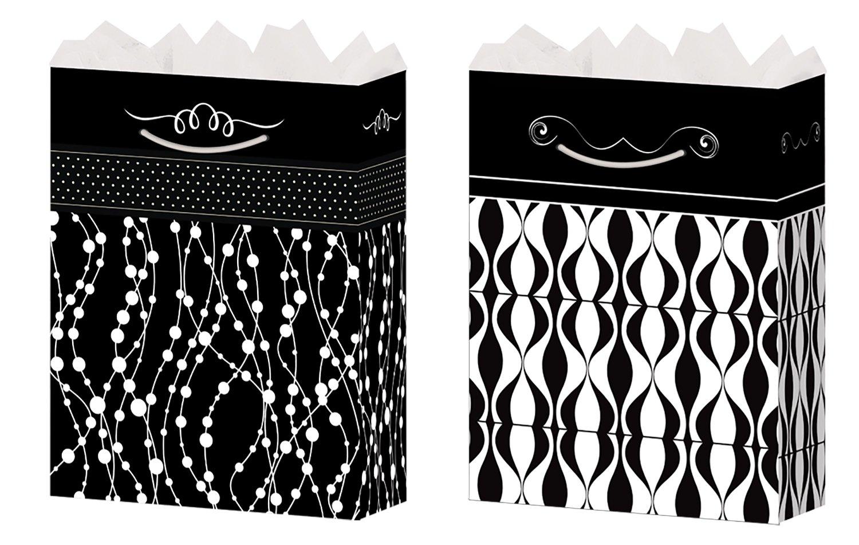 Amazoncom Gift Bags Black And White Medium 2 Styles Glossy Finish