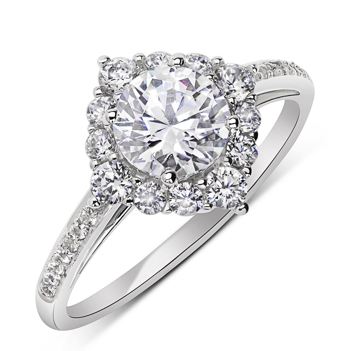 14K Rose Gold or White Gold 1.2 cttw Round CZ Solitaire Halo Ring, 10
