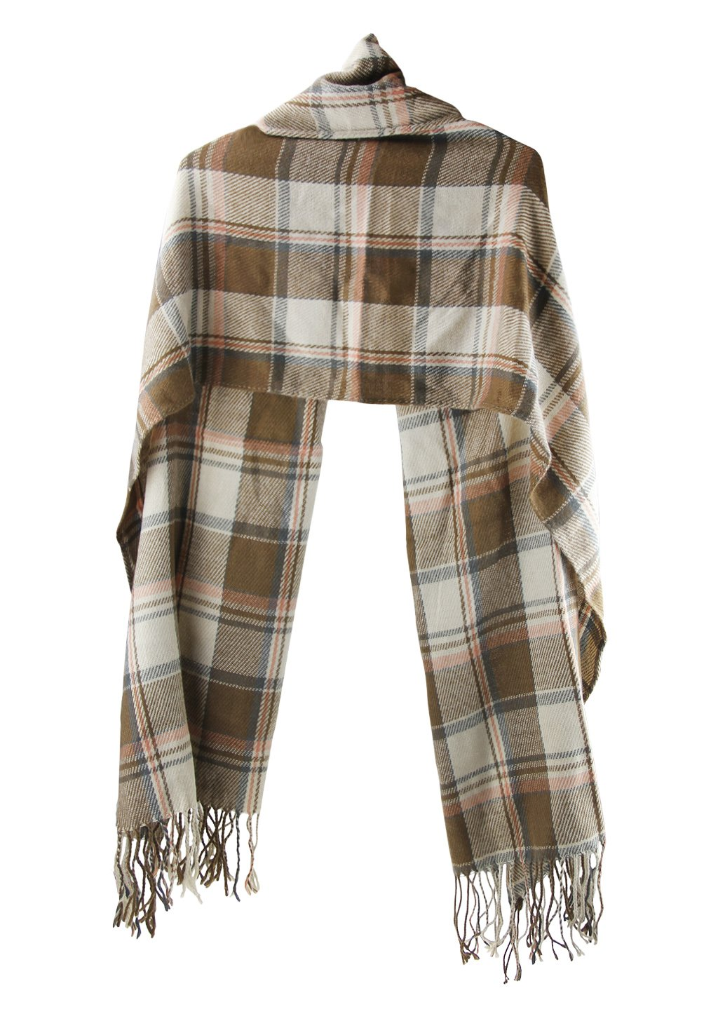 Women Plaid Long Scarves Wraps Vintage Oversized Shawl Tassel Pashmina Stole