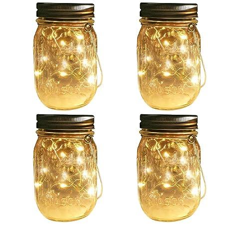 Amazoncom Solar Mason Jar Lights 4 Pack Mason Jar Hanger