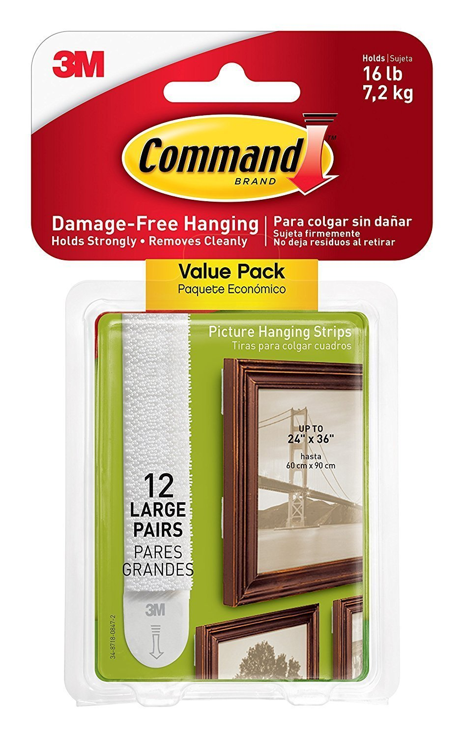 Command Picture Frame Hanging Strips Sets Large Size White Damage Free 24 PAIR
