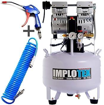 Compresor silencioso, 850 W, 55 dB, silencioso, sin aceite, incluye pistola de soplado y manguera de aire comprimido Impotex: Amazon.es: Bricolaje y ...