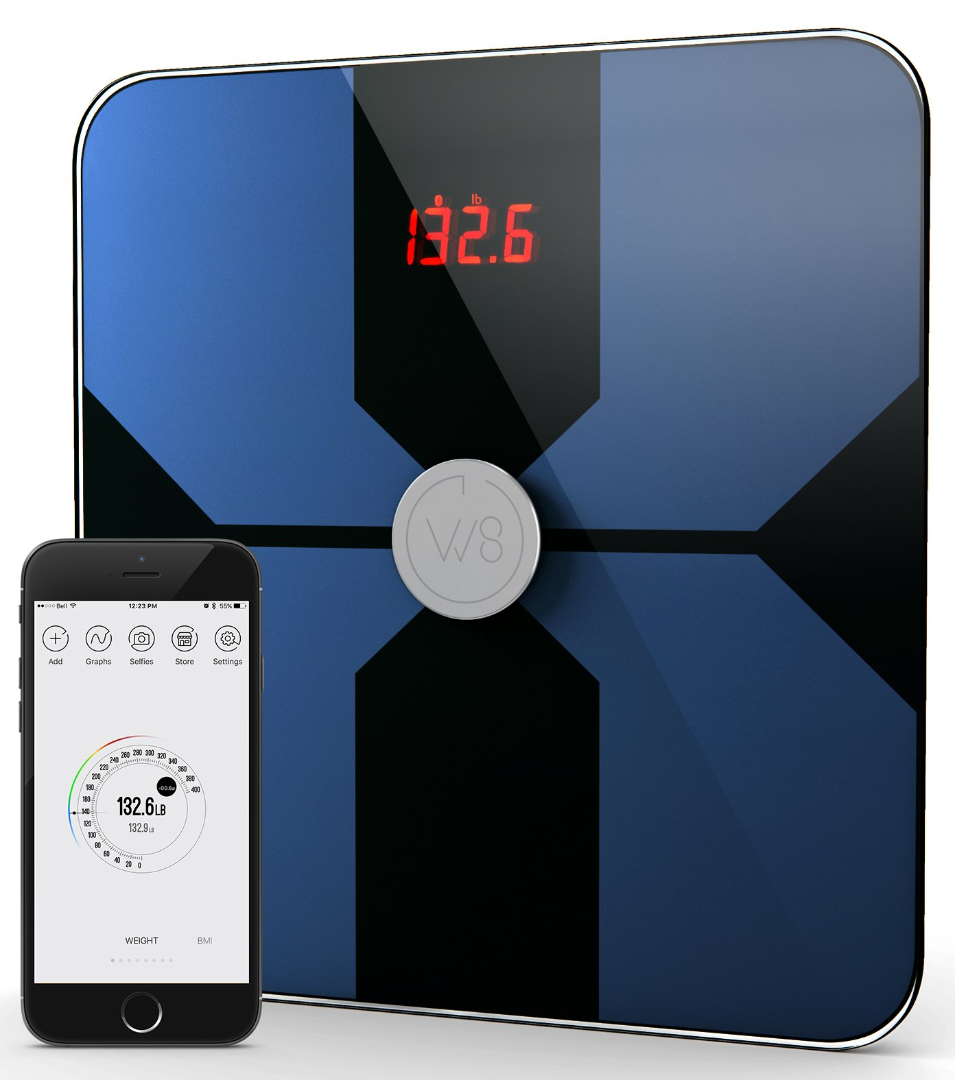 W8 Smart Body Fat Weight Scale - Digital Bluetooth Connected w/Fitness APP & Body Composition Monitor: BMI, Visceral Fat, Muscle Mass, Body Water, Calories & Bone Mass (Dark Blue)