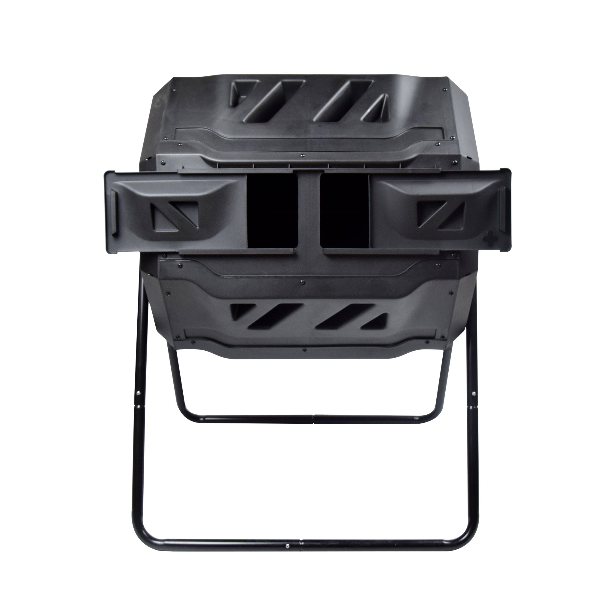 Rotary Garden Tumbler Composter-Easy to turn Barrel, Space Efficient, Black Color, 160L / 37-gallon Capacity With 2 Compartments by Smarssen by Smarssen