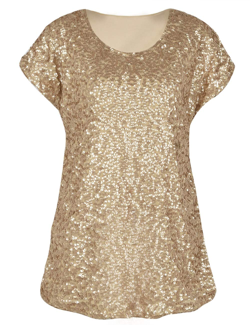 PrettyGuide Women's Sequin Blouse Loose Fit Flashy Party Tops ...