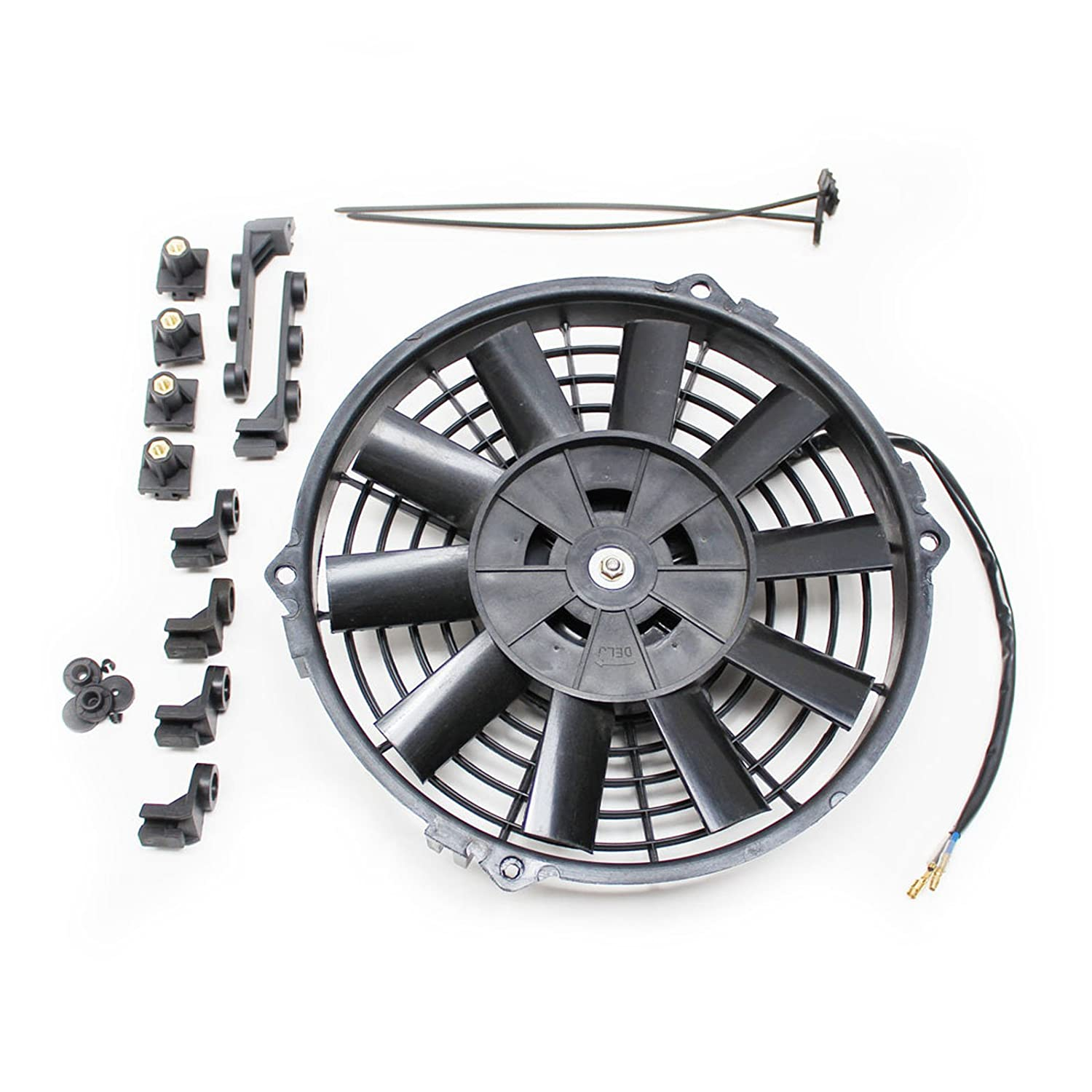 ACP 9' 12v Pull Type Radiator Cooling Fan With Straight Blades + Mounting Kit