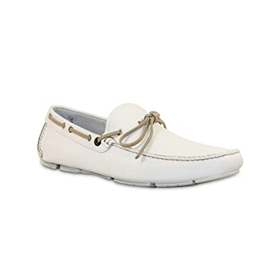 SALVATORE FERRAGAMO Men's 'Losanna' Driver, White (10 D(M) US): Shoes