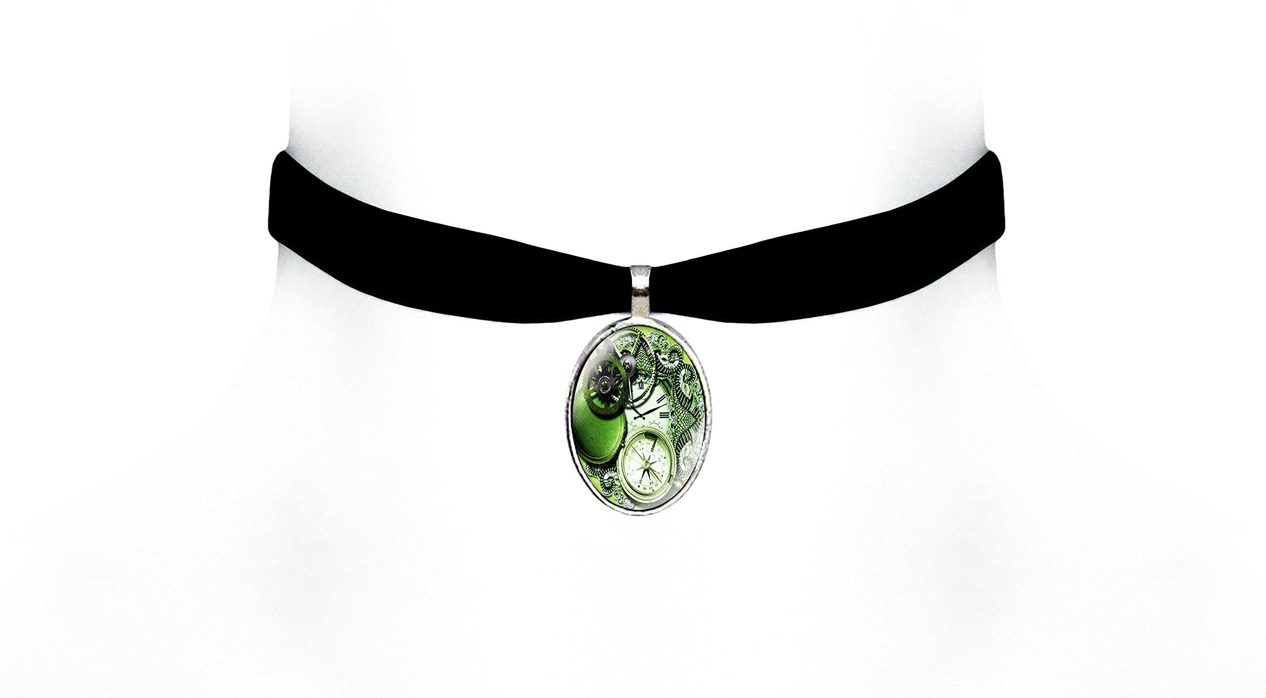 Victorian Vault Black Velvet Time Art Choker Steampunk Gothic Pendant Necklace (Green)