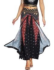 AMOMA Women Wide Leg Side Split Yoga Pants Summer Casual Elastic Wasit Loose Trousers Indie Folk Hippy Aladdin Boho Style Pants