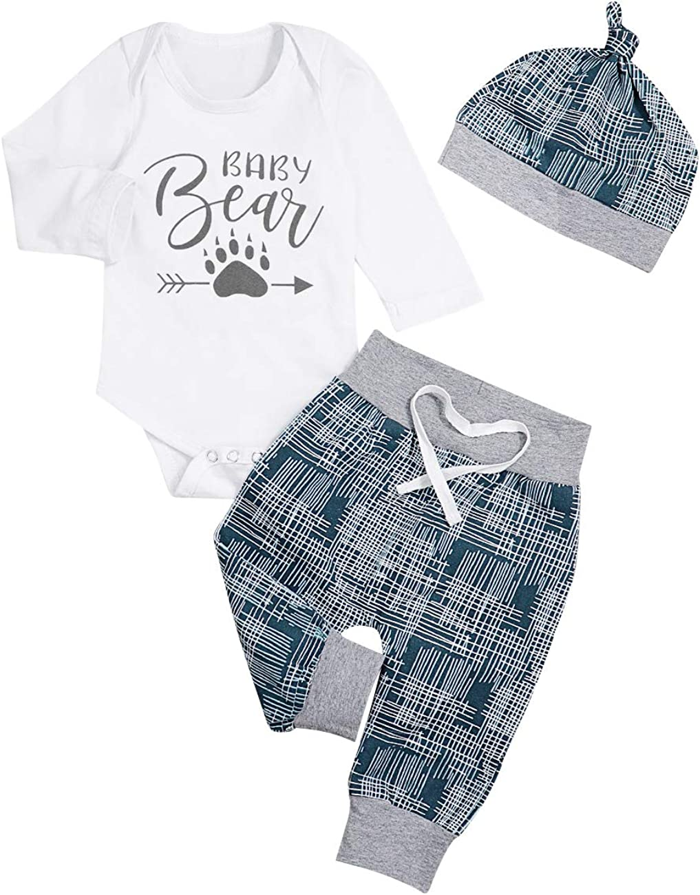 Hut Outfits Set 3PCS Newborn Baby Boy Kleidung drucken Strampler Lange Hosen