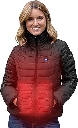 Beston Chaqueta calefactable Mujer - 3 Niveles de Temperatura, 5 Zonas de calentado, hasta 7 Horas de duración, Carga tu móvil hasta 4 Veces