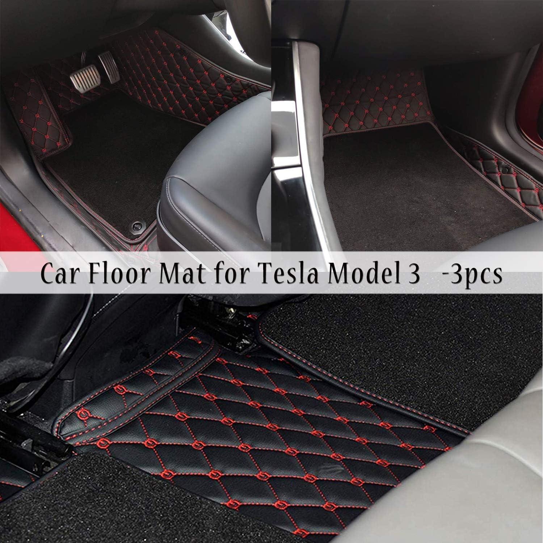 Bmzx Tesla Model 3 Fussmatten Fußmatte Leder Bodenschutzpolster Matten Teppichboden Für Model 3 All Weather Heavy Duty 3 Des Sets Schwarz Rot Auto