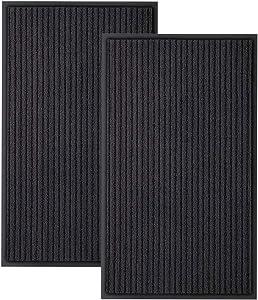 Bertte Waterproof Heavy Duty Entryway Carpet Easy Clean Odorless Entrance Rug for Patio High Traffic Areas Low Profile Rubber Door Mat Durable Doormat for Indoor and Outdoor, 18