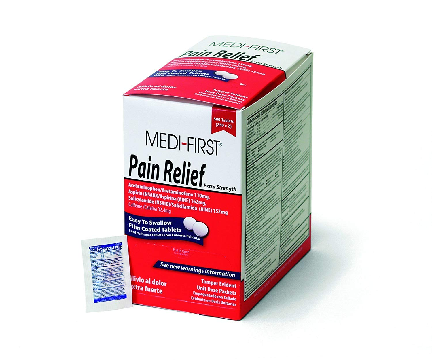Medi-First pain Relief Tablets with Aspirin & Acetaminophen, 500 Tablets by Medique