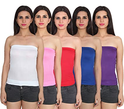 83a296b1f6 Ansh Fashion Wear Cotton Spaghetti Tube Top Pack Of 5  Amazon.in ...