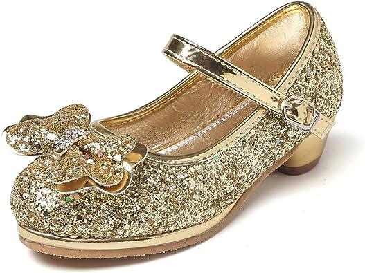 Toddler//Little Kid//Big Kid CYBLING Girls Fashion Little Heel Mary Jane Floral Squre Toe Princess Dress Shoes