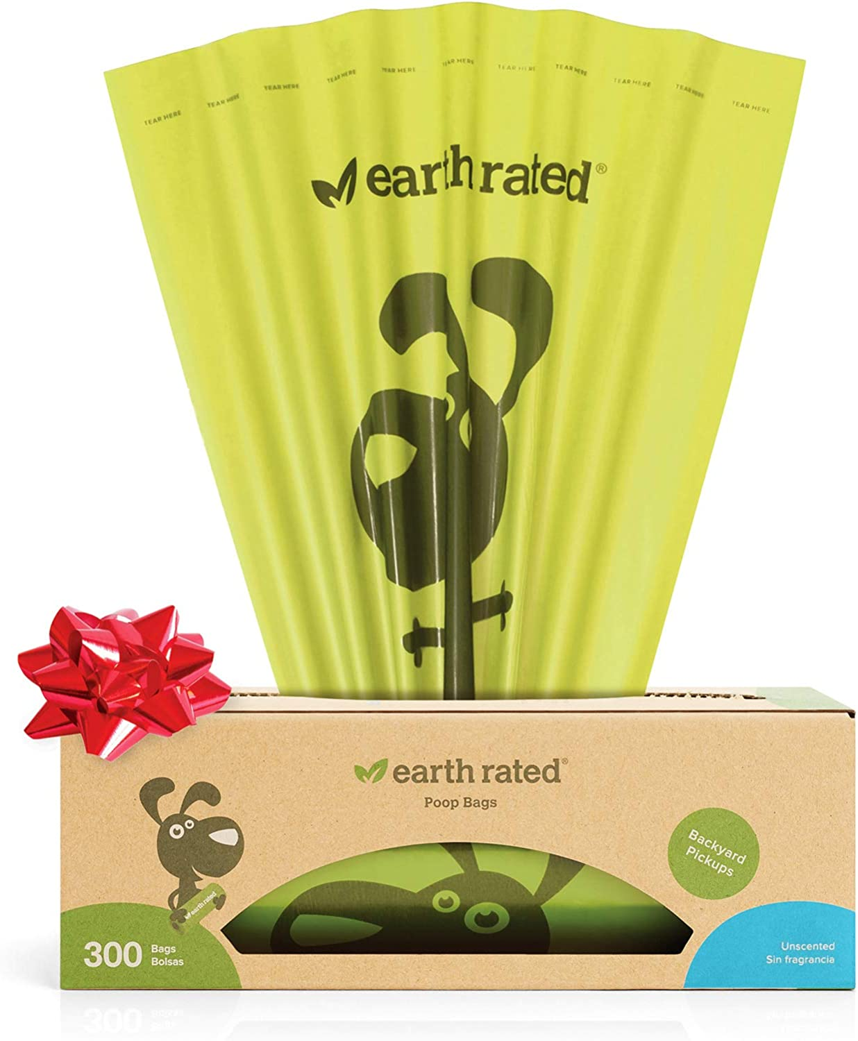 Earth Rated Dog Poop Bags, Dog Waste Bags on a Large Single Roll, Grab and Go, Guaranteed Leak-Proof, Great for Backyard Pickups, Each Poop Bag ...