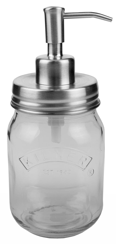 Dispensador de jabón en acero inoxidable, plateado, sin óxido. Kilner 0,5 l, listo para usar, 100% resistente a la corrosión: Amazon.es: Hogar