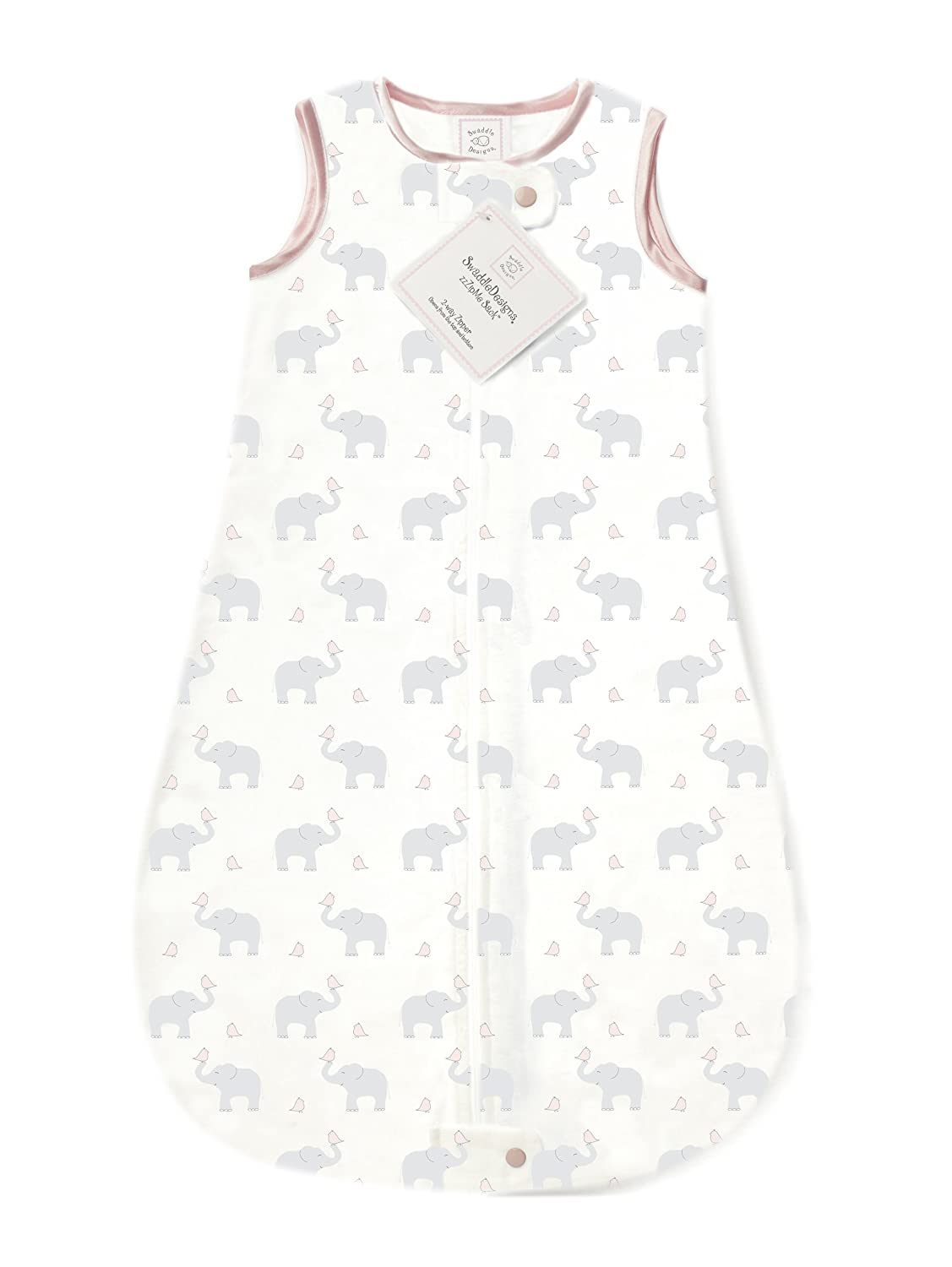 SwaddleDesigns Cotton Sleeping Sack with 2-Way Zipper Made in The USA 6-12MO Elephant and Yellow Chickies Premium Cotton Flannel