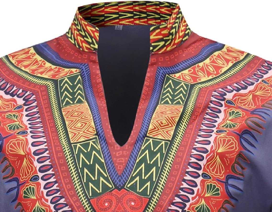 Zago Mens Casual Traditional Pullover Dashiki 3//4 Sleeve African Fitted Stand Collar Floral Print Ethnic Style T-Shirt