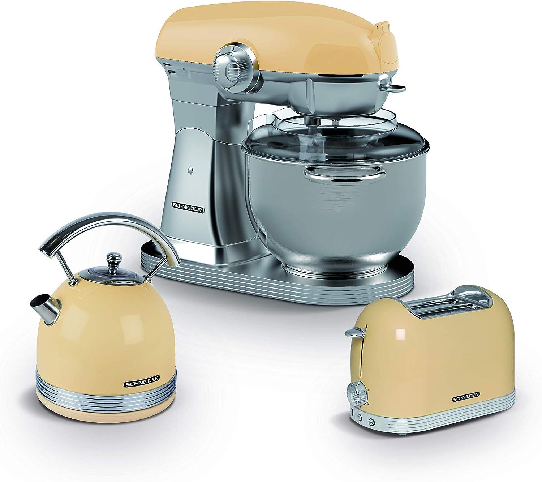 Schneider - Robot de repostería vintage crema (10 velocidades, 5,7 L): Amazon.es: Hogar