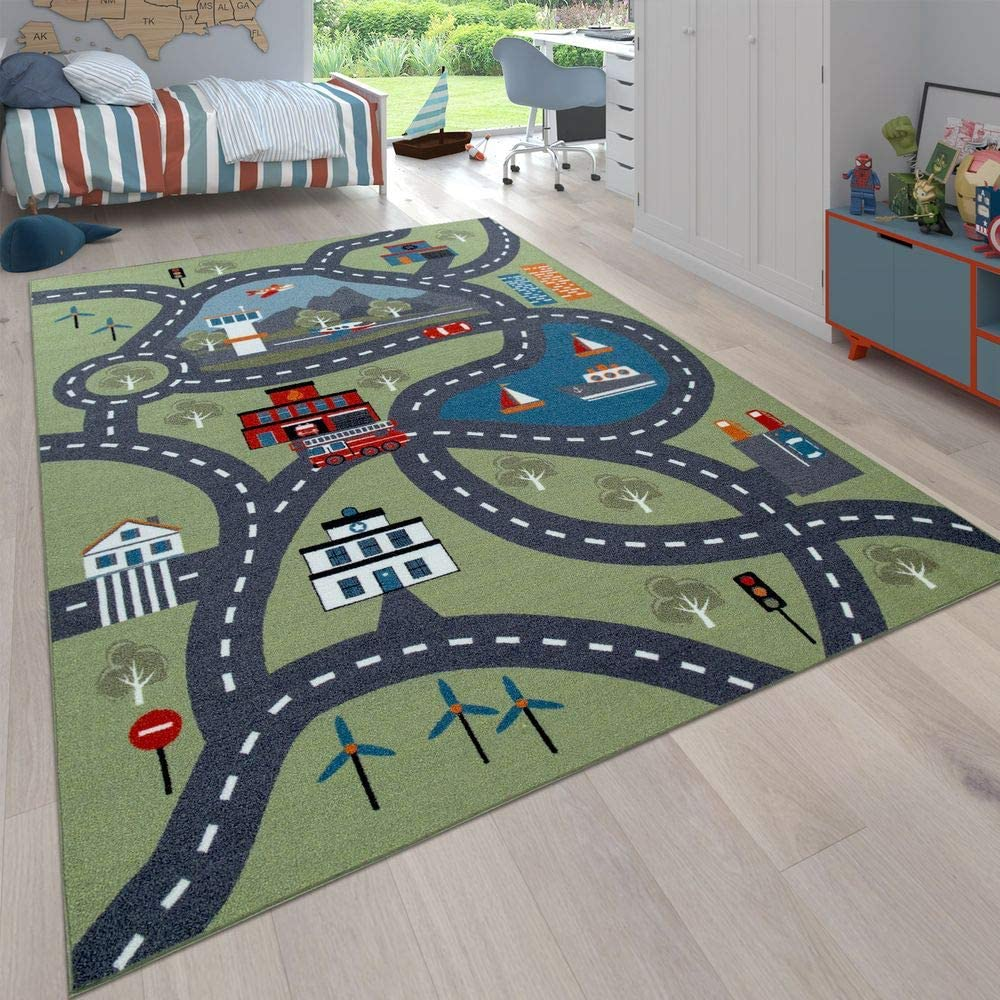 Paco Home Kinderteppich Spielteppich City Hafen Stra/ßenteppich Stadt Stra/ße Grau Gr/ün Gr/össe:160x220 cm