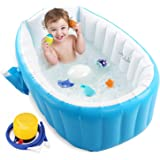 Baby Inflatable Bathtub, Portable Infant Toddler Bathing Tub Non Slip Travel Bathtub Mini Air Swimming Pool Kids Thick…