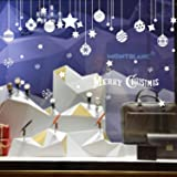 Emwel 2 Pack DIY Background Wall Glass Sticker Seasonal Tags Labels Removable PVC Window Cling Stickers Christmas Decorations Decal Home Shop Decor - Ball stickers