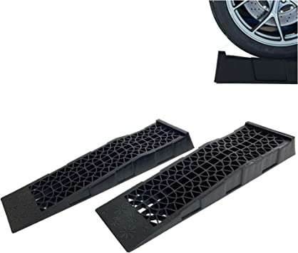 Donext Ramps Low Profile Plastic Car Service Ramps 3 Ton Truck Vehicle - 2 Pack