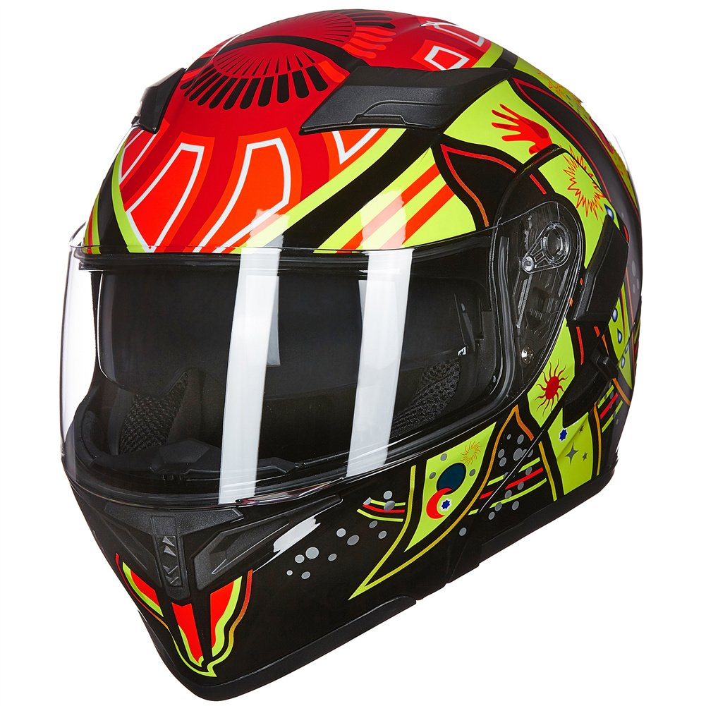 Amazon.com: ILM Motorcycle Dual Visor Flip up Modular Full Face Helmet DOT with 6 Colors (S, SUNFLOWER): Automotive