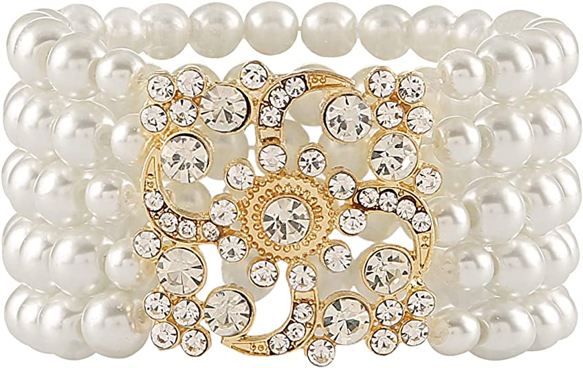 Vintage Style Jewelry, Retro Jewelry Metme 1920s Gatsby Accessories Imitation Pearls Rhinestone Bracelet Adjustable Ring Set $12.99 AT vintagedancer.com