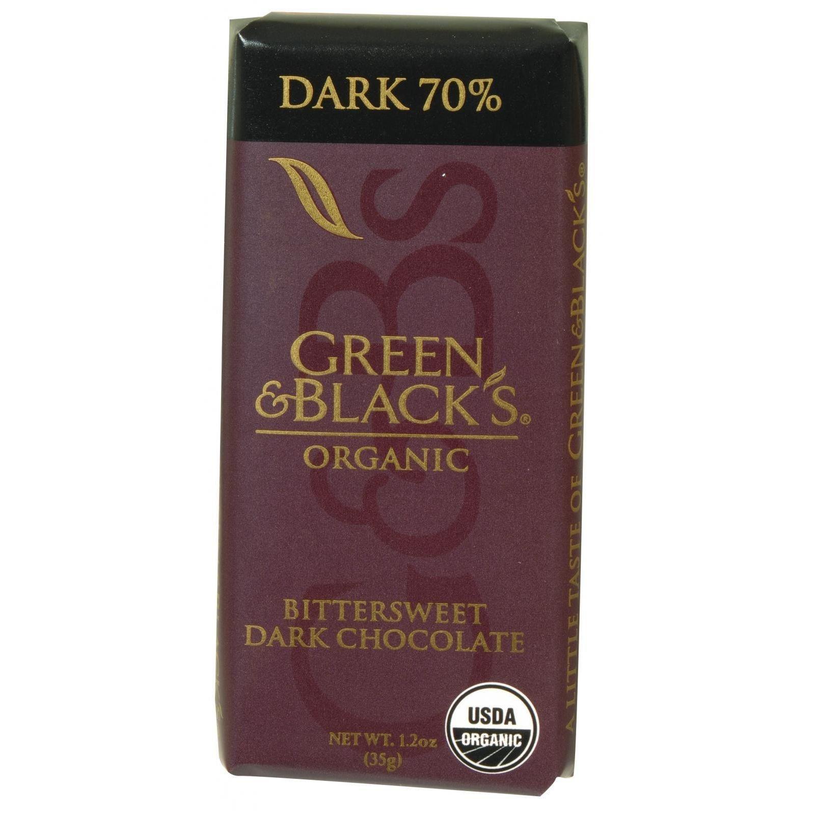 Green and Blacks Organic Chocolate Bars - Bittersweet Dark Chocolate - 70 Percent Cacao - Impulse Bars - 1.2 oz - Case of 20-95%+ Organic - by Green & Black's