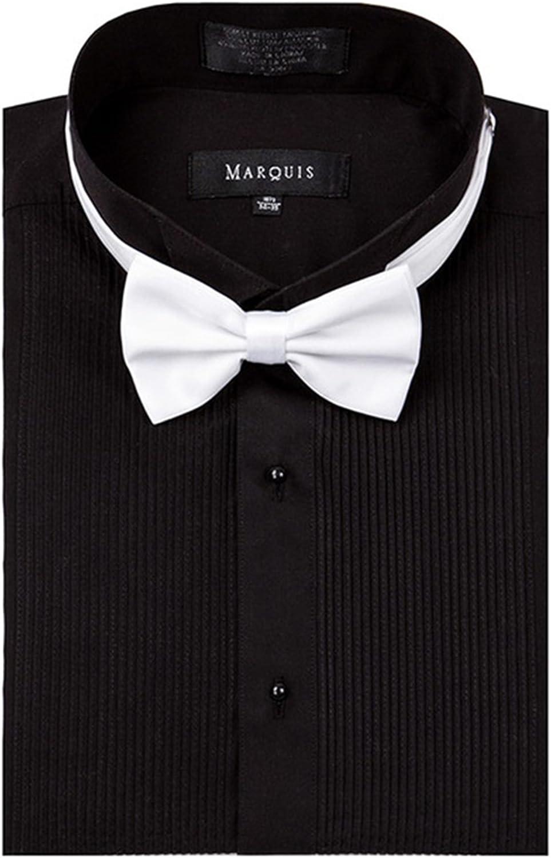 Marquis Los hombres de la camisa regular Fit Tuxedo Negro Pajarita