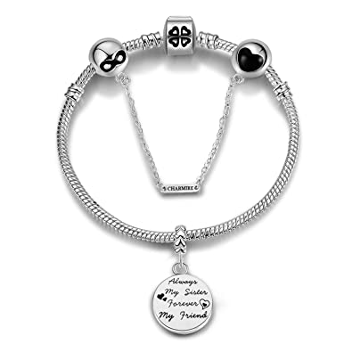 2b7a8dbe5 Womens White Gold Plated Snake Chain Charm Bracelets Pandora Style European  Charms Safety Chain Bead Engraved