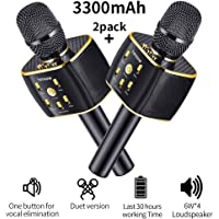 hmovie Wireless Bluetooth Karaoke Microphone, Easter Gift 3-in-1 Portable Hand Speaker for iPhone/Android/iPad/Sony,PC and All Smartphone (Gold)
