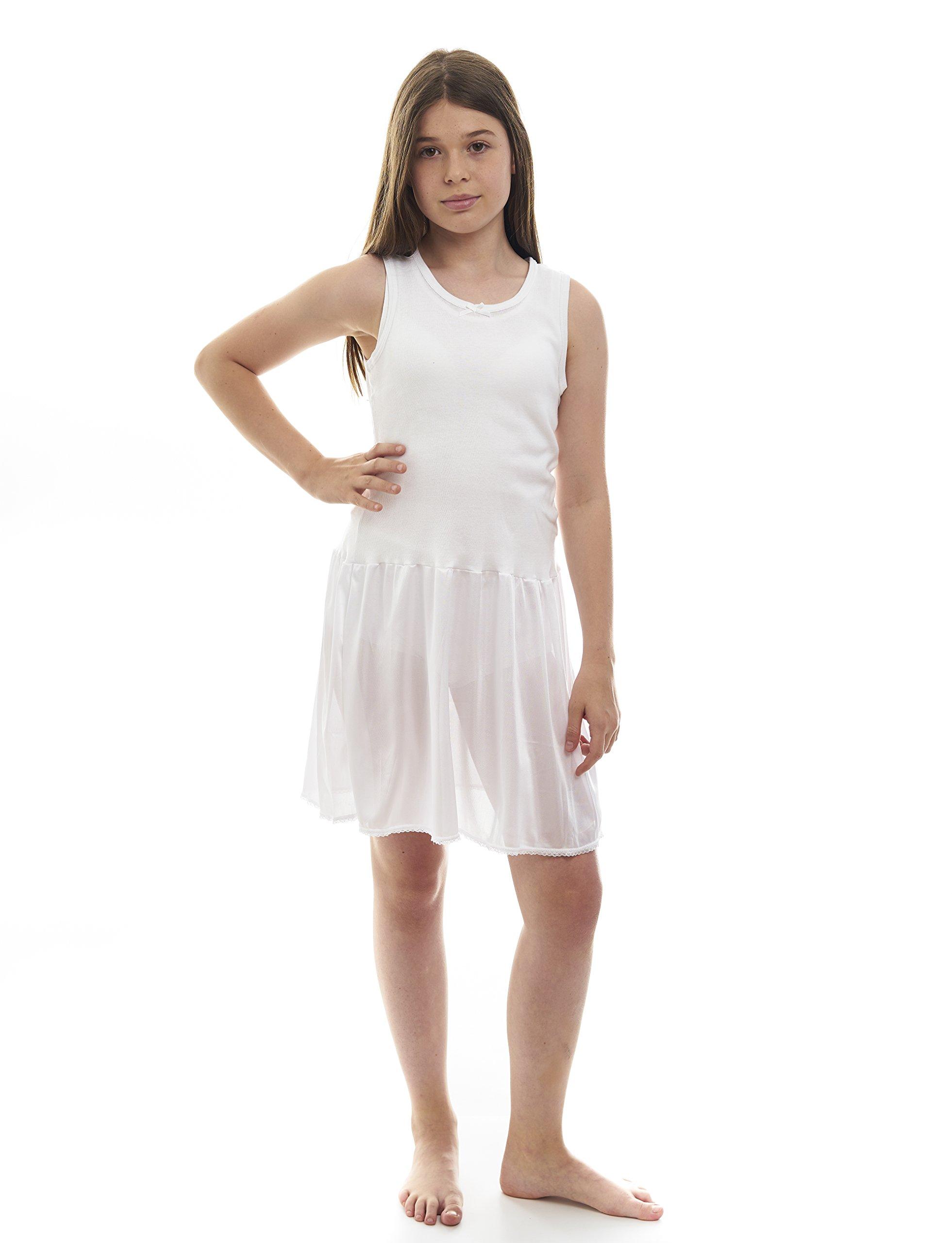 Rossette Sleeveless Full Slip for Girls – Cling Free - Cotton / Nylon Material, White, 6
