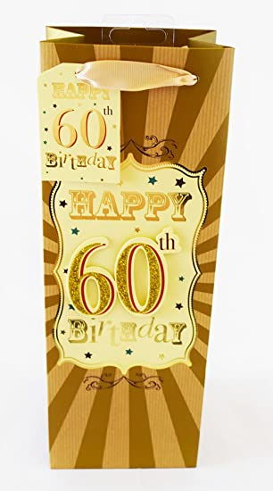 Happy 60th Birthday Gift Bag Bottle Gold Glitter Ladies Mens Age 60 Present