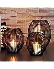 D DOLITY Metall Draht Kerzenleuchter Kerzenhalter, Oval Korb Halter