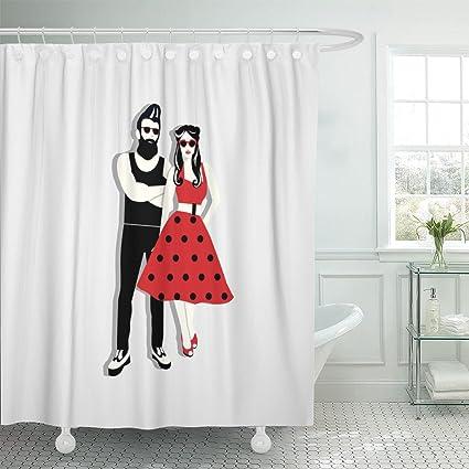 Amazon Emvency Shower Curtain 1950S Rockabilly Couple Ready To