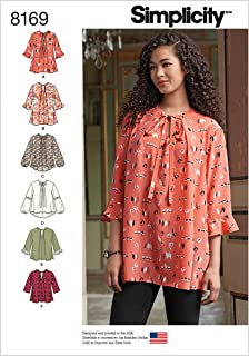 product image for Simplicity Pattern 8169 Misses' Loose-Fitting Tunic and Top Size A (XXS-XS-S-M-L-XL-XXL), A (XX-Small/X-Small/Small/Medium/Large/X-Large/XX-Large)