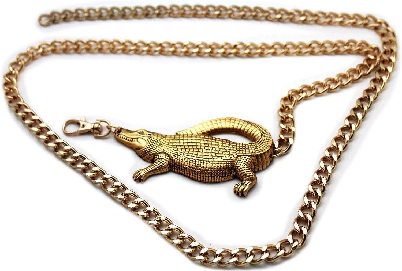 TFJ Women Fashion Belt Hip High Waist Gold Metal Chains Alligator Crocodile Buckle XS S M