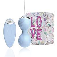 Oeuf Vibrant Télécommandé Sans Fil Silencieux Balles de massage électriques rechargeables imperméables mini (Bleu)