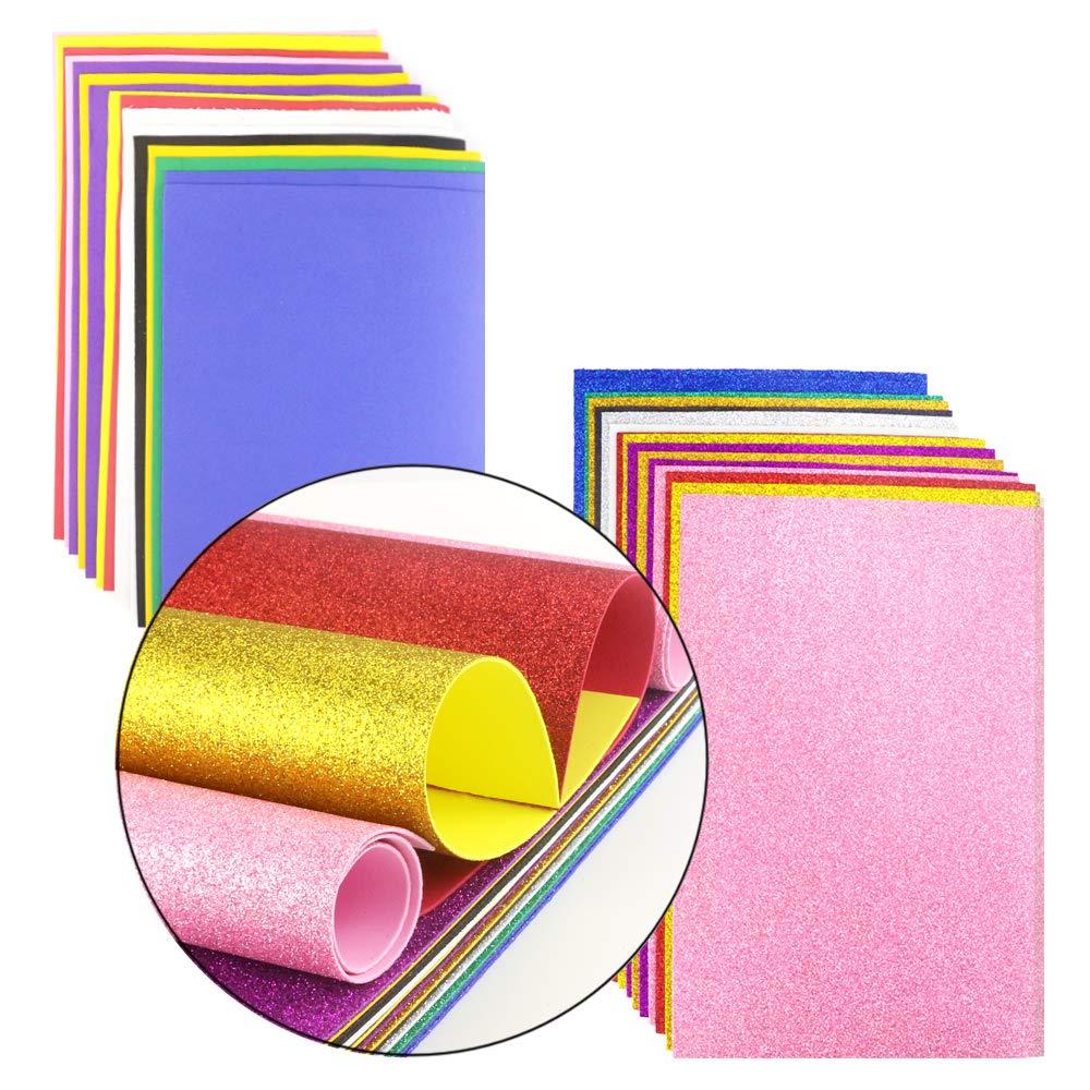 dickes und weiches Papier Scrapbooking 10 Farben, 30,5 x 20,3 cm Partys BcPowr 30 St/ück EVA-Glitzer-Schaumstoff-Bl/ätter Klassenzimmer Handarbeits-Schwamm f/ür Bastelprojekte Regenbogen-Schaum