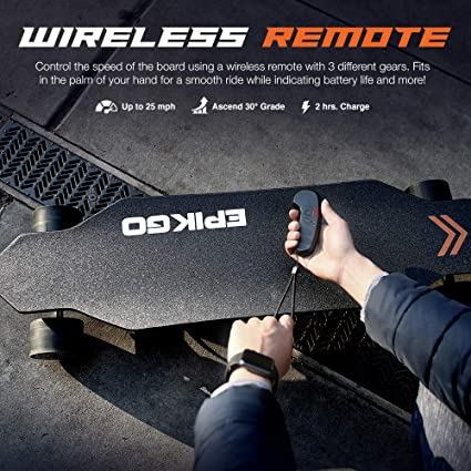 EPIKGO Electronic Skateboard with Dual-Motor Smart Skateboards [7 Ply Bamboo Board, Part No. [SS-K02]] - Portable Cruiser Longboard/Skate Board for Rider, Kids and Adults -Great for Outdoor