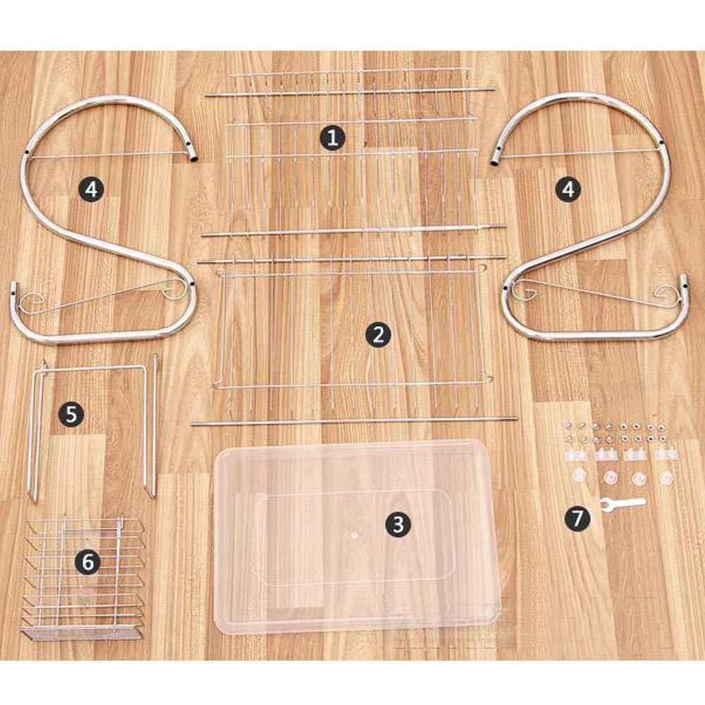 Rangement Assiette Et Ustensiles De Cuisine coil.c /Égouttoir Vaisselle 2 Niveaux en Acier Inoxydable Support /À Couverts Double Couche Panier /À /Égouttoir Anti-Rouille