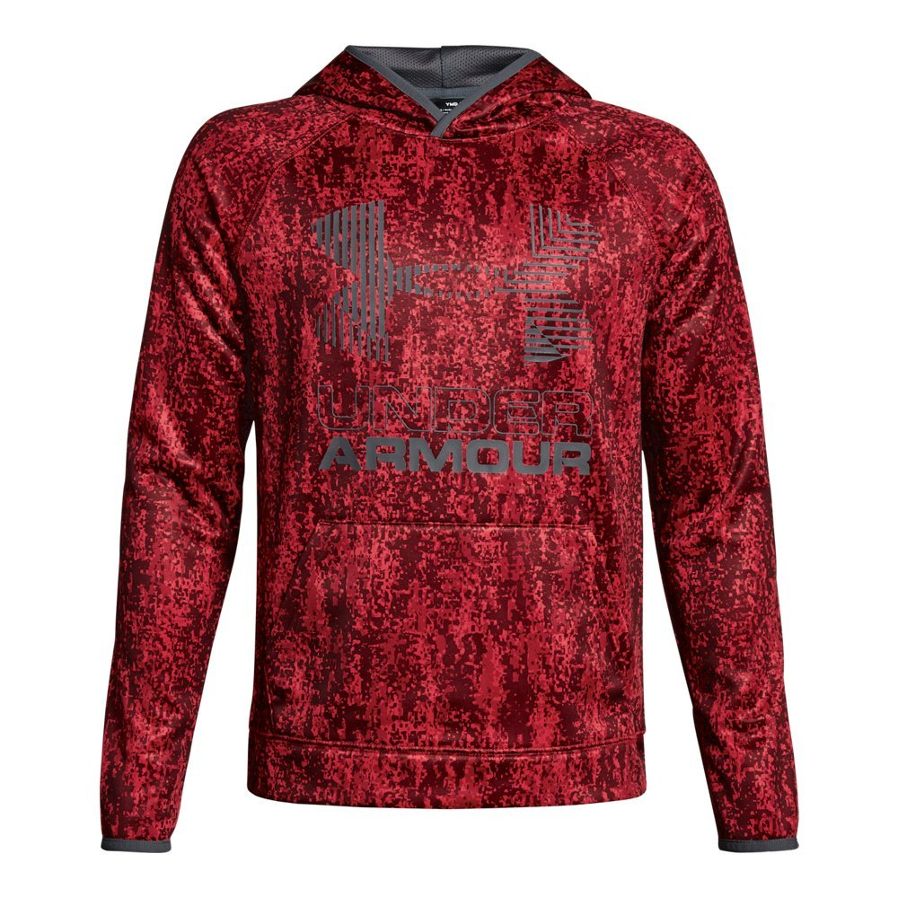 Under Armour Boys' Armour Fleece Printed Big Logo Hoodie, Red /Graphite, Youth X-Small